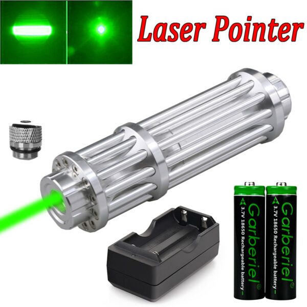 Tactical 532nm Green Laser Pointer Pen 18650 Zoom Visible Beam Light + Charger