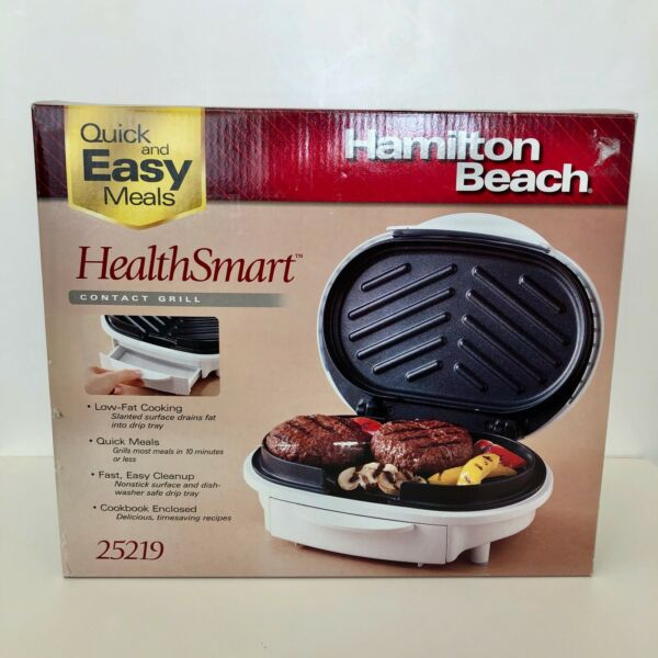 Hamilton Beach 25219 Health Smart Indoor Contact Grill Low-Fat Cooking Easy Meal