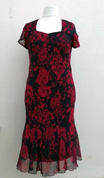 BONMARCHE SIZE 16 BLACK RED FLORAL PRINTED CHIFFON LINED DRESS BNWT NEW