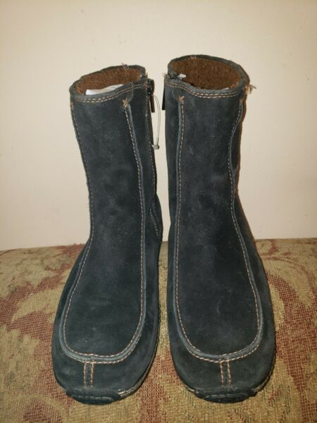 Timberland winter Ankle Boots 69364 Womens size 8 Moc Toe Fleece Black Suede Zip $50.00