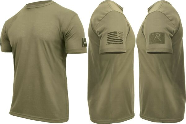 Mens Tactical Athletic Muscle T Shirt with US Flag amp; Loop Field $14.99