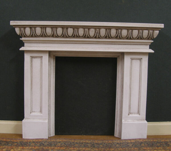 FIREPLACE ~ Egg & Dart  ~ Distressed ~ Jim Coates ~ Dollhouse Mini ~ 1:12 scale