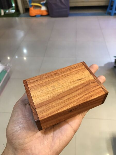 Small Wooden Box With Hinged Handmade