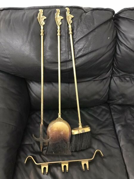 Vintage Antique Solid Brass Fireplace Tool Set 4 Pieces