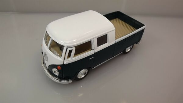 Die Cast Green 1963 Double Cab Pickup Volkswagen Classic Bus 1:34 Scale New