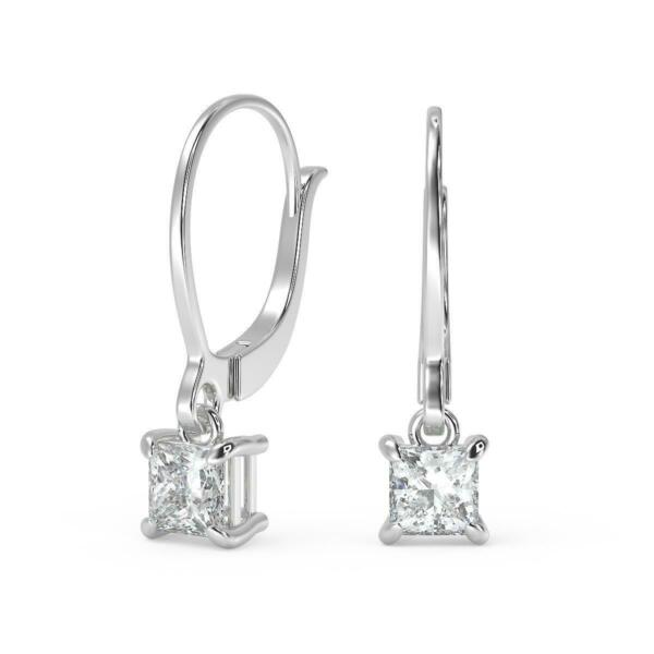 3.22 Ct Princess Cut Diamond Earrings SI1 G Leverback White Gold 18k