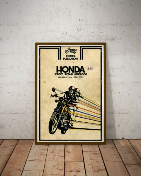 Vintage 1964 74 HONDA Motorcycle Handbook POSTER Up to full size 24quot; x 36quot; $28.00