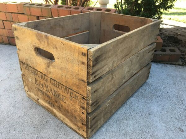 Vintage Wooden Crate Millburg Growers Exchange Michigan 1953 Produce Apple