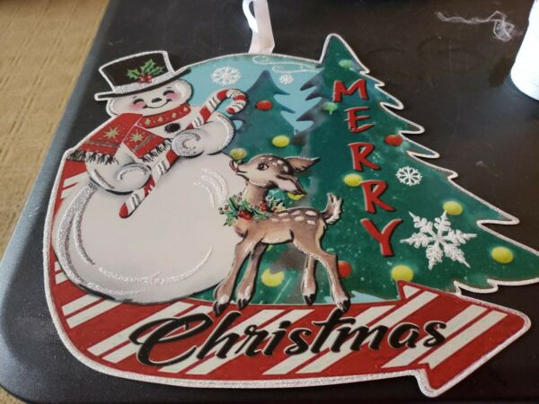Metal Christmas Glitter Sign Merry Christmas Snowman Deer With Ribbon Hanger New