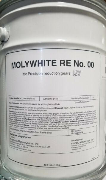 Molywhite RE No. 00 Grease 35 lb pail (16 kg) for Precision Reduction Gears RV