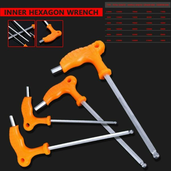 T Handle Allen Hex Key Wrench Spanner High-carbon Steel Inner Wrench Hand Tools