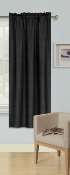 BLACK 1PC (R64) ROD POCKET TOP PANEL SOLID BLACKOUT FOAM LINED WINDOW CURTAIN