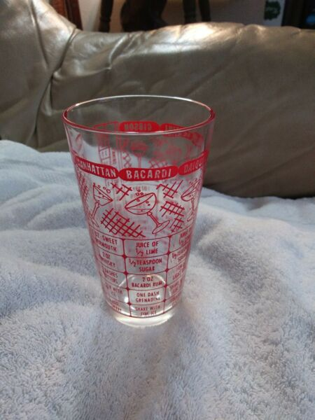 Vintage Federal Red Cocktail Martini Bacardi Gibson Mixing Bar Glass