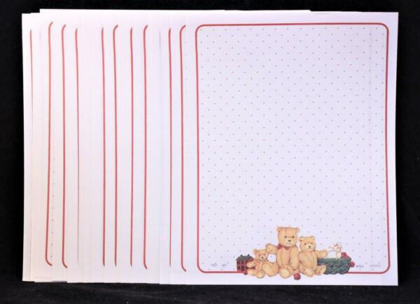 1987 Package of 50 Sheets Printed quot; Teddy Bearquot; Stationary Paper. $6.65