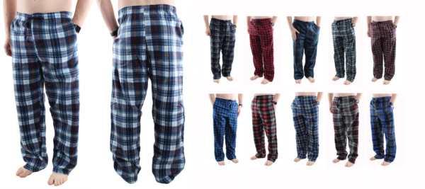 Mens Pajama Pants Fleece Soft Plaid Casual Lounge Sleep Bottoms with Pockets $13.99