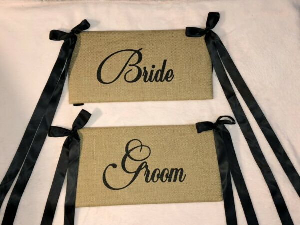 Rustic Wedding Burlap Bride And Groom Decor Chair Signs Marriage