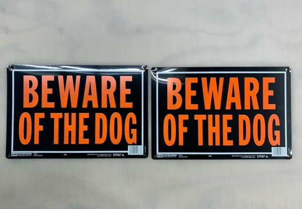 2 Aluminum Beware Of The Dog Signs Black And Orange 9x14quot; Guard Dog Protection $8.99