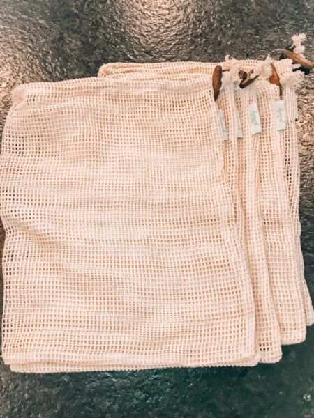 Mesh Bags for Produce Set of 5 Grocery Bags Plastic Replacement Greenely