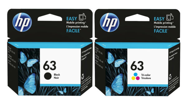 GENUINE NEW HP 63 Black and Color Ink 2 Pack for ENVY 4520 Officejet 3830 4650