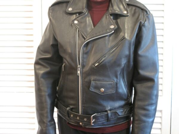 Vintage Wilson Open Road Mens Size 42 Black Leather Thinsulate Motorcycle Jacket