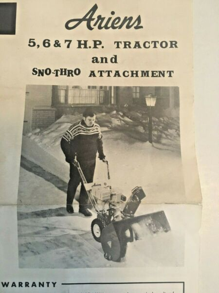 Ariens 5 6 7 HP Snow Thrower Tractor Parts Catalog Manual Sno-Thro PM-8-71