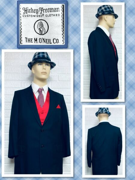 HICKEY FREEMAN Vintage 38S Men#x27;s ITALY Navy Blue Custom Tailored Blazer 722057
