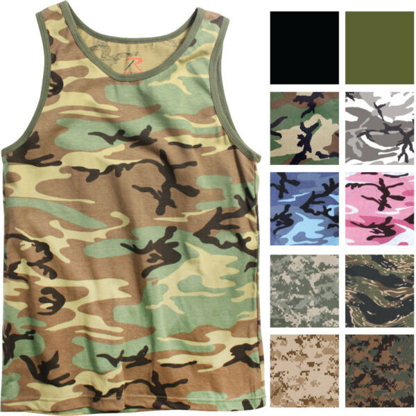Camo Tank Top Sleeveless Muscle Tee Camouflage Tactical Army Military A T Shirt $10.99