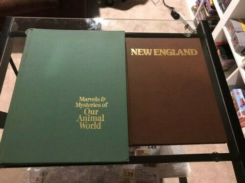Lot of 2 Coffee Table Books New England Picture Book and Readers Digest Animals