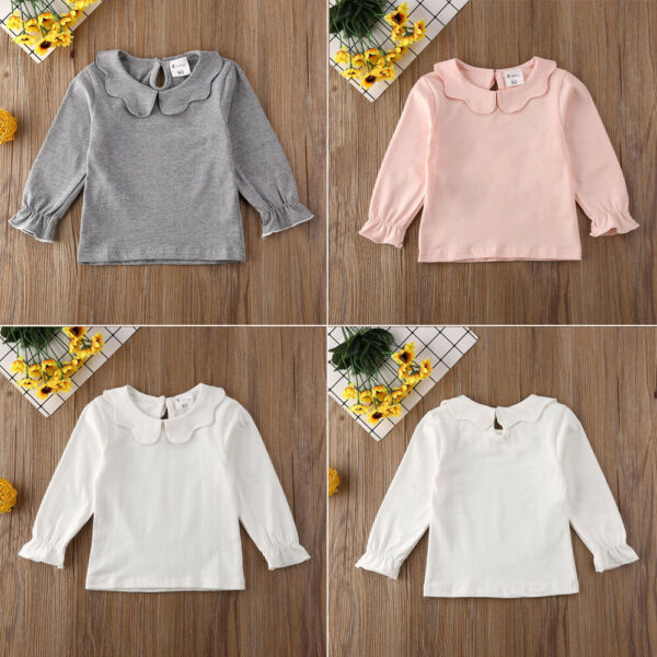 Toddler Kids Baby Girls Lace Casual Long Sleeve T-shirt Tee Tops Blouse Clothes