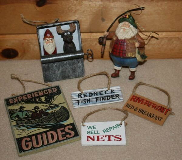 Rustic   ORNAMENTS     Fisherman Santa   signs   Santa Moose  &   More!    M588