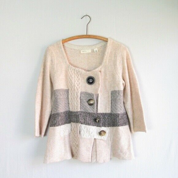 Anthropologie Sleeping on Snow Cable Cluster Wool Cardigan Patchwork Sz Large