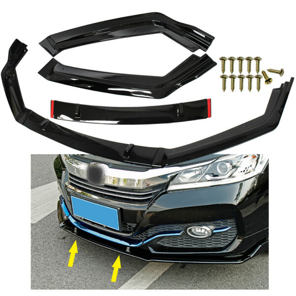 For 2014 2017 Honda Accord 9th 9.5th Front Bumper Lip Body Kit Spoiler Splitter