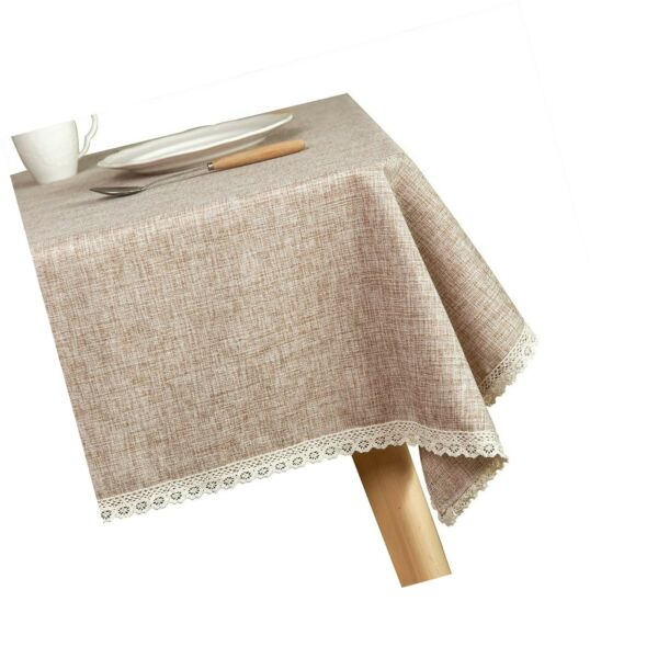 Glory Season Linen Rustic Burlap Washable TableclothSolid Heavy Weight Tan 6...