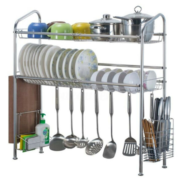 US Stainless Steel Dish Rack Over Shelf Sink Bowl Organizer Cutlery Holder