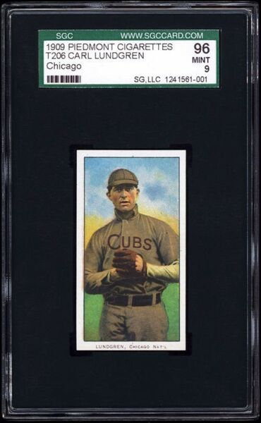 1909 T206 Carl Lundgren (Chicago Cubs) SGC 96 MINT. The #8 card in T206 Series!