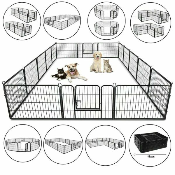 "39"" 8panel 24quot; 16panel Metal Dog Cat Exercise Fence Playpen Kennel Safe $104.99"
