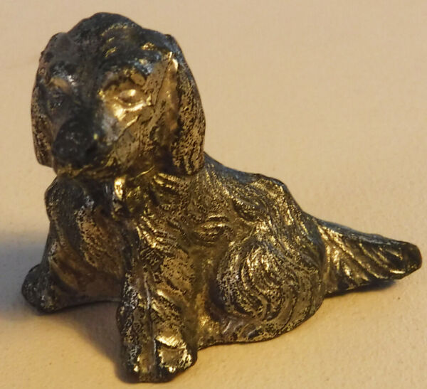 THREE CAST METAL DOGS – SINGLE AND A PAIR – GOLD COLORED FINISH $12.99