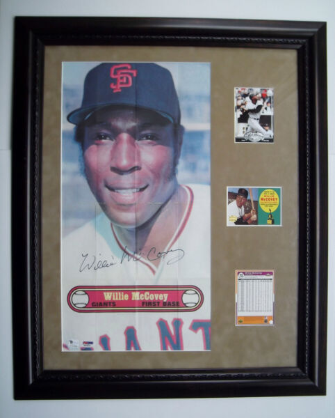 WILLIE MCCOVEY Signed 1972 Topps Large Photo Poster PSADNA & GAI Framed wCards