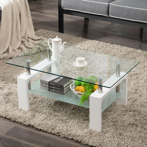 Modern Side Coffee Table Glass Top w Shelf Living Room Furniture Rectangle White