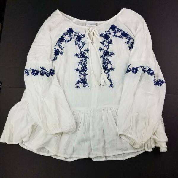 Liz Claiborne Womens Peasant Blouse White Long Sleeve Tied Neck Embroidered M $14.97