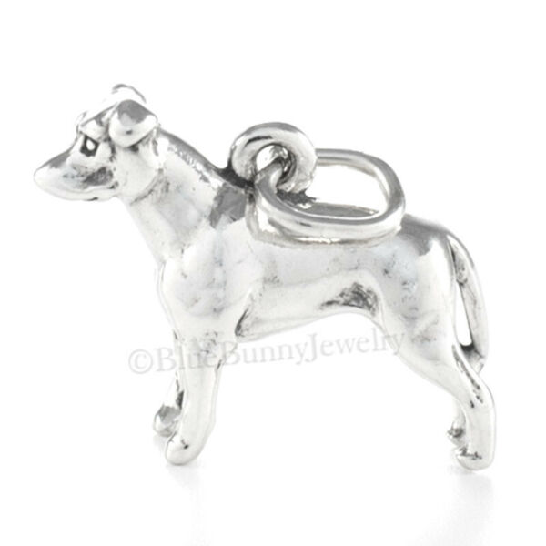 PIT BULL TERRIER Dog Charm Pendant solid 925 Sterling Silver 3D .925 $13.49