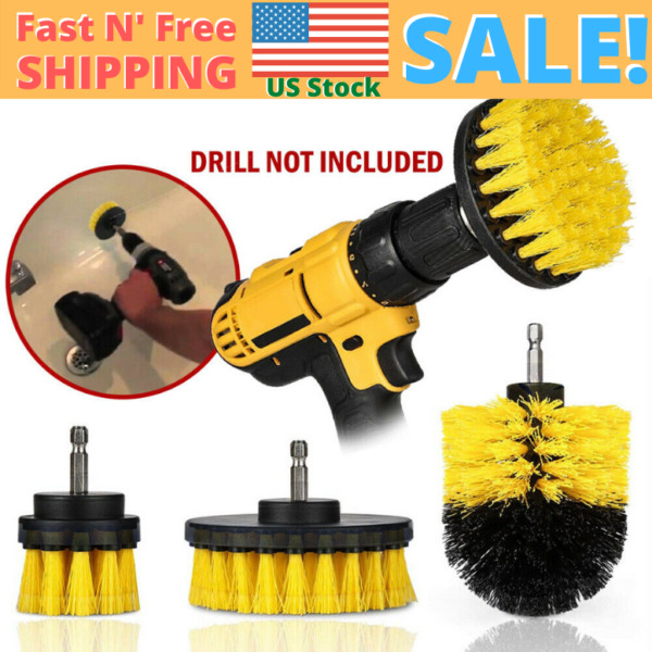3Pcs Drill Brush Set Power Scrubber Drill Attachments Carpet Tile Grout Cleaning