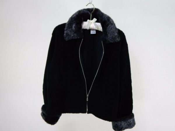 New Willi Smith Zip Front Sweater wFaux Fur CollarCuffs Made in Canada Size M