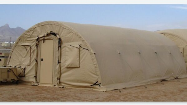 Alaska Structures Military Tent 20#x27;W x 32.5#x27;L x 10#x27;H w Ship Container