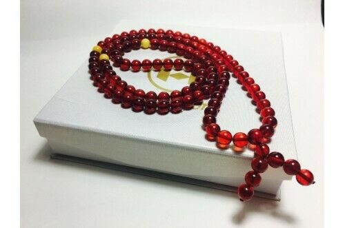 Red Amber 108 Prayer Beads Rosary 9mm round beads Bracelet Mila Mālā Baltic Ambe