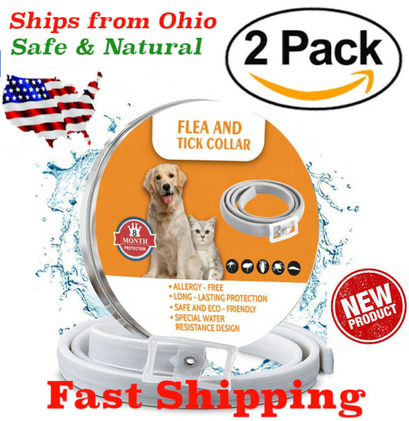 Natural Flea and Tick Collar for Large Dogs 8 Months Control TWO PACK USA 2 ECO $18.99