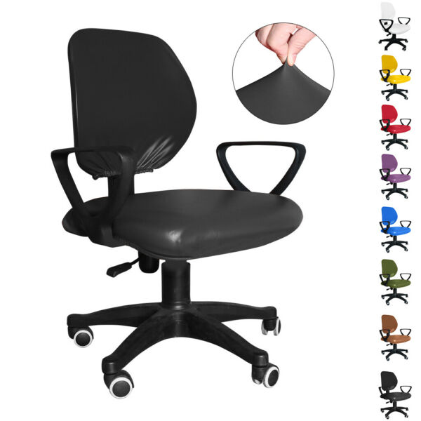 Split Computer Office Chair Cover Stretch Desk Task Seat Covers Rotat Slipcover $32.99
