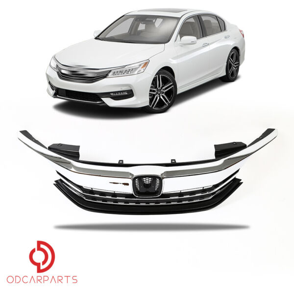 Fits Honda Accord Sedan 2016 2017 Front Upper Grille Grill Chrome