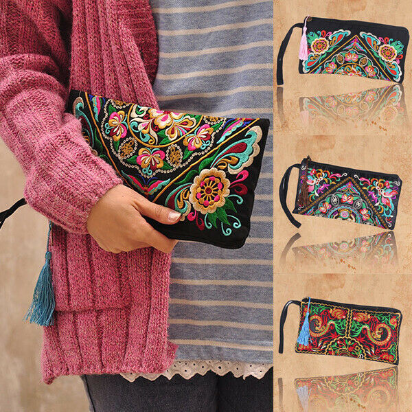 Retro Women's Ethnic Embroidered Wristlet Clutch Bag Handmade Boho Purse Wallet $7.02