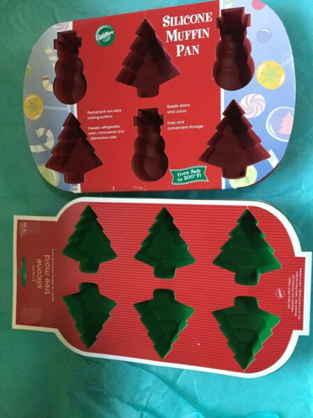 Wilton New Christmas Tree & TreeFrosty  Silicone Baking Molds 6 Cavity New Ea